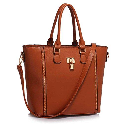 Leesun London Damen Kunstleder Handtaschen Große Drei Fächern Frauen Designer Taschen Tote Schulter Taschen H - Braun