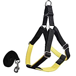 Pawzone Yellow Body Harness With Leash for Dogs -Small(3/4 Inch)