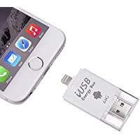 iPhone Flash Drive, Memoria de cifrado de tocco ID Espandi Adattatore USB 3.0 Micro USB y y conector de relámpago Almacenamiento externo 3 in 1 para iPad iPod MacBook laptop IOS Dispositivo Blanco (64GB flash drive)