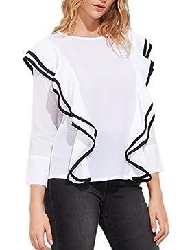 Yidarton Mujer Camiseta De Manga Larga Fruncido Y Plisado V Cuello Blusa Casual Tops