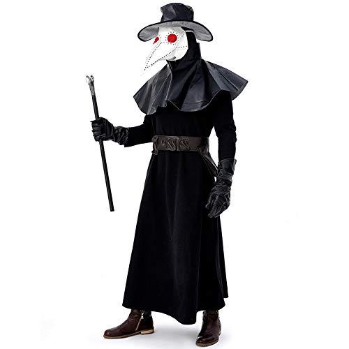 COSOER Pest Vogel Mund Arzt Kostüm Mittelalterliche Steampunk Wind Kleidung Mit Krähe Langen Mund Maske Für Halloween - Krähe Kostüm Maske