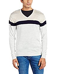 Peter England Mens Synthetic Sweater (8907495562049_PSW51601124_Small_White with Blue)