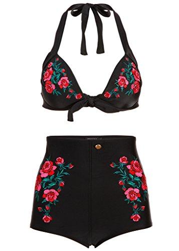 Schwarzer Retro Pin Up Vintage Western Damen Bikini mit hoher Taille (2-tlg. Set) – Gr. M