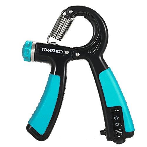 TOMSHOO Hand Trainingsgerät, Handtrainer Verstellbare Widerstandsbereich 22 bis 88 Pfund (10-40 Kg), Fingerhantel mit einer Zählfunktion (Blau)