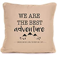 Personalised Valentines Day Present For Him Her | 'We Are The Best Adventure' Throw Pillow | 18x18 Inch Cushion Pillow with Pad | Gift For Couples Boyfriend Girlfriend