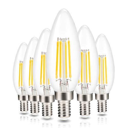 LED-Kerzenleuchter, Glühfaden, Vintage-Edison-Kronleuchter, dimmbar, entspricht 40 Watt, Warmweiß 2700 K, 400 Lumen, E12-Sockel, 6 Stück