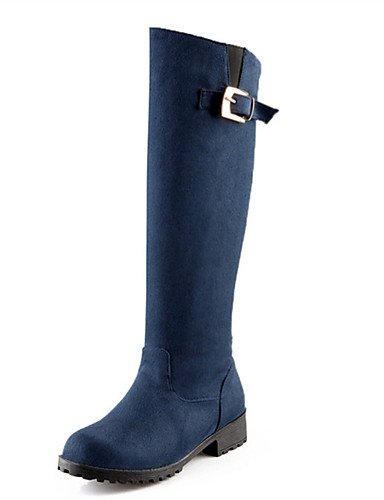 ShangYi Mode Frauen Schuhe Schuhe Damen Fleece Frühjahr / Herbst / Winter Fashion Stiefel Outdoor / Party & Abend / and Low Heel Blau