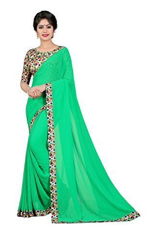 OOMPH! Georgette Saree With Blouse Piece (rbaf_1335_Seafoam Green_Free Size)
