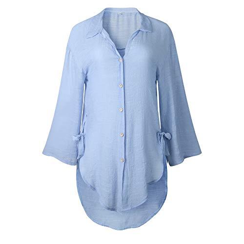 WQIANGHZI Lady T-Shirt Mode Frauen Langarm Kaftan Baggy Button LäSsige Tunika Bluse Long Shirt Casual T-Shirt Dame V- Ausschnitt - Tops Damen Sommer Sexy