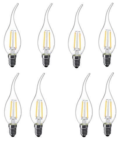 l-hm C35Flamme Spitze LED-Leuchtmittel für Vintage Antik Kronleuchter und Kandelaber 2W 2700K E12Basis (8Stück) -