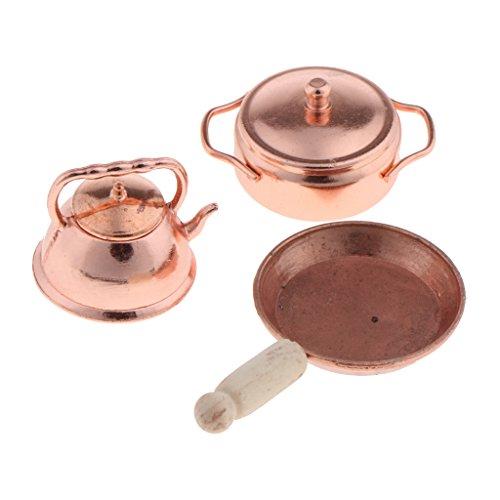 MagiDeal 1:12 Sartén de Bronce Olla Hervidor de Cocina en Miniatura Accesorio Decorativo de Dollhouse
