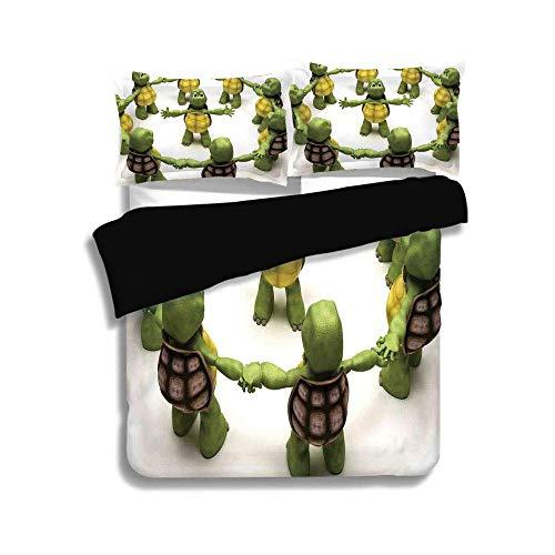 Schwarzer Bettbezug-Set, Reptil, Ninja Turtles Dancing Tortoise Team Relax Fun Happiness Childhood Kids Print Dekorativ, Grün Weiß Braun, Dekorativ 3 Stück Bettwäsche-Set von 2 Pillow Shams, QUEEN / F