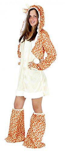 Foxxeo Giraffen Kostüm für Damen Tierkostüme sexy Kleid für Karneval und Fasching Erwachsene Größe ()