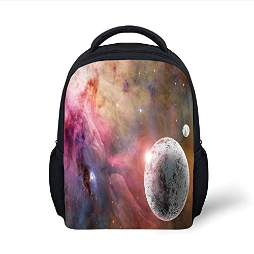 Kids School Backpack Outer Space Decor,Large Unknown Frozen Planet in a Star Field Circular Nebula Fog Galactic Energy Image,Pink Plain Bookbag Travel Daypack