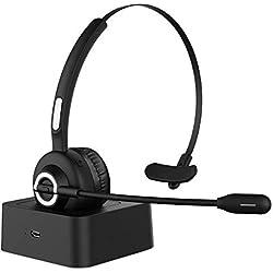 HolyHigh Casque Bluetooth avec Micro sans Fil avec Base 17H Temps de Jeu Casque sans Fil Professionnel pour Bureau, Service à la Clientèle Mains Libres Serre-tête Flexible pour Ordinateur Téléphones