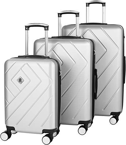 Set Trolley rigido 3 pezzi | Blocco TSA a 3 cifre | Maniglie Soft-Touch per un facile sollevamento ed impugnatura | Ruote doppie -Mobilità e manovrabilità impressionanti | Argento 55 + 68 + 78 cm