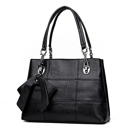 Damen Elegant handtasche Schultertaschen PU Leder Taschen Henkeltasche Shopper Schwarz