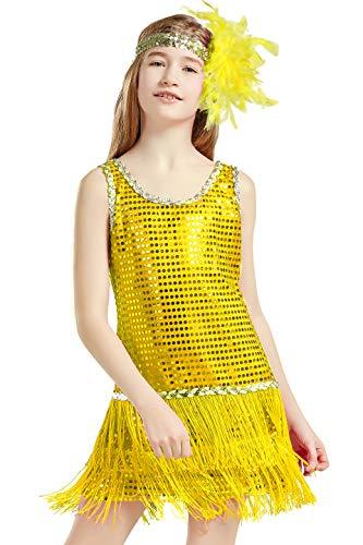 Coucoland 1920s Kleid Mädchen Pailletten Charleston Kleid mit Feder Stirnband Great Gatsby Stil Fasching Kostüm Kleid (Gelb, XS) (20er Mädchen Kostüm)