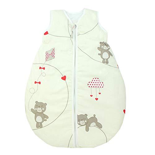 TupTam Unisex Baby Schlafsack ohne Ärmel Wattiert, Farbe: Bärchen Ecru, Größe: 92-98