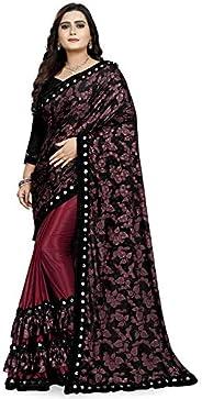 Market Magic Wolrd Women's Printed Lycra Silk Blend Saree With Blouse P