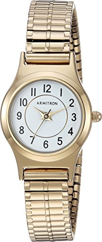 Armitron Women's 75/5420WTGP Easy to Read Dial Gold-Tone Expansion Band Watch