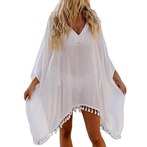 FRAUIT Damen Chiffon Bikini Cover Up mit Kapuze Sommerkleid mit tiefem V-Ausschnitt Freizeitkleid Ideal als Bikini Cover Up, Strand, Urlaub, Pool, Meer, See, Sommernächte, Party.