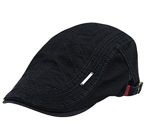 Anshili Unisexe Plaid épaisseur Caps Motif de Coton Noir