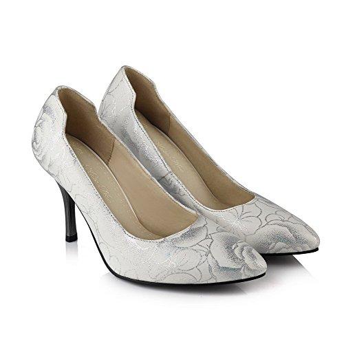 AllhqFashion Femme Pointu Stylet Couleurs Mélangées Tire Chaussures Légeres Blanc