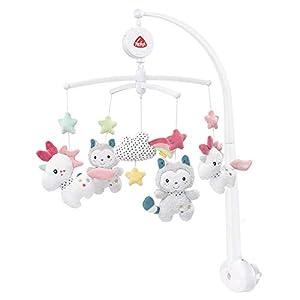 Fehn 057027 Musik-Mobile Aiko & Yuki – Mobile mit sanfter Melodie und flauschigen Figuren – Mit Befestigung – Für Babys von 0-5 Monaten – Größe: Ø 40 cm, Höhe: 65 cm