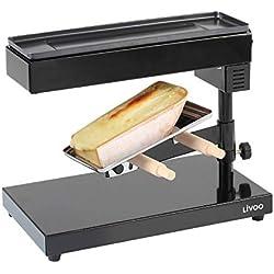 LIVOO DOC159 Appareil à Raclette Traditionnel pour Quart de Meule | Thermostat Socle Pivotant, Inclinable et Réglable en Hauteur | 600 Watts, Noir
