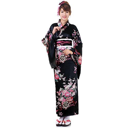imono Sakura Schwarz Satin One Size (Geisha Outfits)