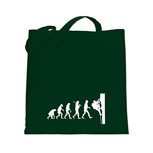 Shirtfun24 Baumwolltasche EVOLUTION KLETTERER Klettern Free Climbing, bottle (grün) weiss