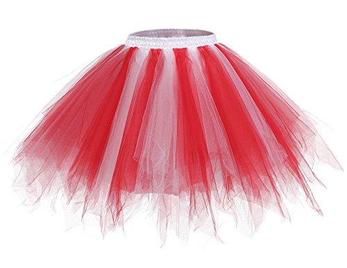 bridesmay Tutu Damenrock Tüllrock 50er Kurz Ballet Tanzkleid Unterkleid Cosplay Crinoline Petticoat für Rockabilly Kleid Red-White S (Ballet Tutu Tanz Kostüm)