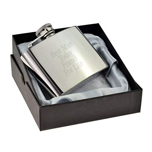 4oz Hip Flask Best Man Today Friend For Life (XSSHF6) by Wedding Accessories and Giftware