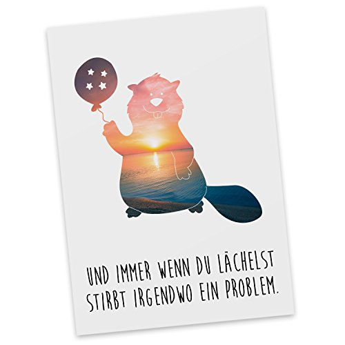 mr-mrs-panda-postkarte-biber-mit-ballon-100-handmade-handbedruckt-biber-ballon-luftballon-sternchen-