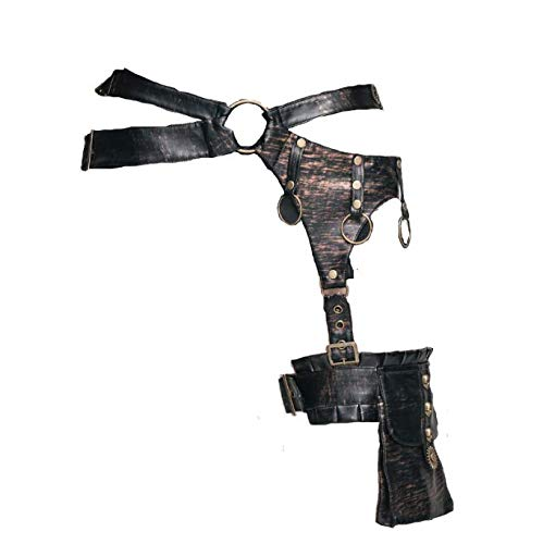 XINXIN Steampunk Leder Tropfen Bein Taillengürtel Tasche Mit Getrieben Dekor Gothic Motorrad-Thigh Tasche Für ()