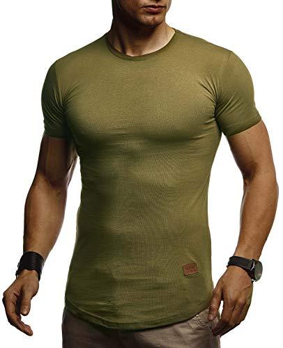 Vintage Khaki (LEIF NELSON Herren Sommer T-Shirt Rundhals Ausschnitt Slim Fit Baumwolle-Anteil | Cooles Basic Männer T-Shirt Crew Neck | Jungen Kurzarmshirt O-Neck Kurzarm Lang | LN8294 Khaki XX-Large)