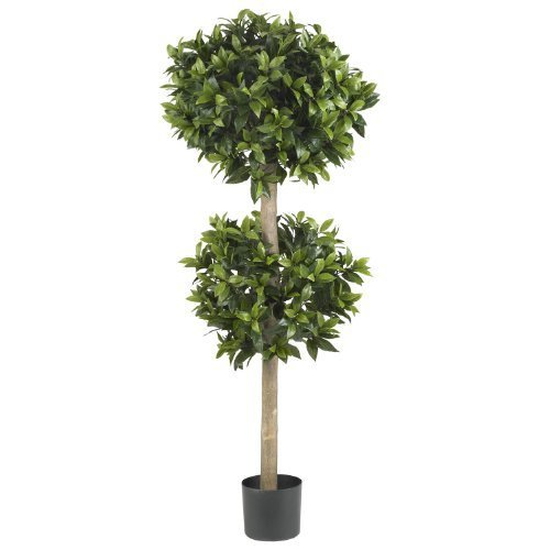 Nearly Natural 5311 Sweet Bay Double Ball Topiary Silk Tree, 57-Inch, Green by Nearly Natural - Ball Topiary Silk