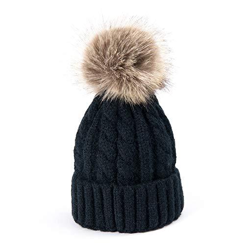 Winter Beanie Mütze Damen Mädchen Strickmütze Wurm Style Gestrickt Wintermütze mit Fellbommel Bommelmütze Hat Ski Snowboard.