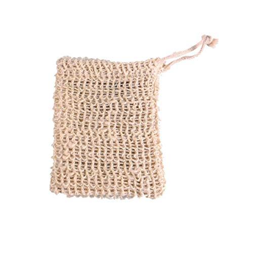 Runfon Baumwolle Leinen Soap Bag Natürliche Pflanzenfasern Tragetasche Seife Saver Schäumende Trocknen Beutel bewegliche Seifenaufbewahrungstasche Geeignet für Badezimmer Küche 2ST -
