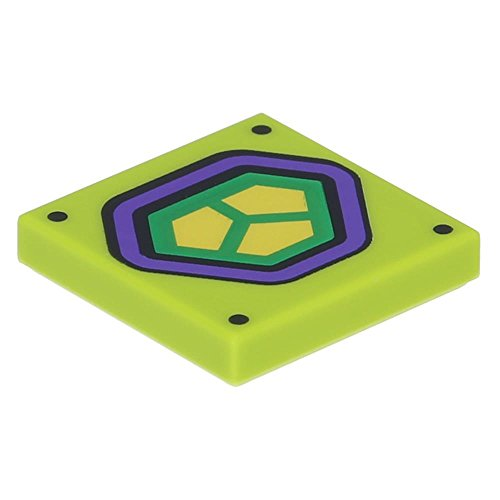Desconocido 10 x Lego® Tile 2 x 2 with Dark Purple and Yellow Hexagonal Lex Luthor Lime
