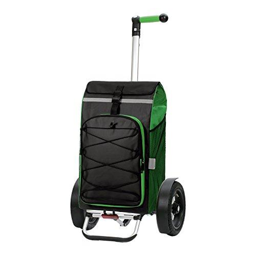 Andersen Shopper Tura mit kugelgelagertem Luftrad 29 cm und 72 Liter Tasche Fado grün mit integriertem Kühlfach und Regencape