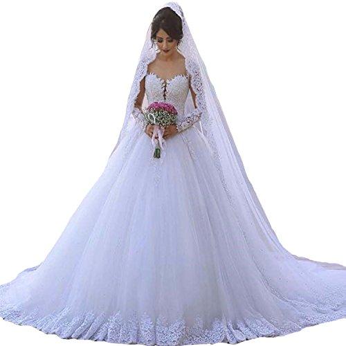 HotGirls Elegante Prinzessin Brautkleider Illusion Neck Lange Ärmel Spitze Tüll HochzeitsKleid...