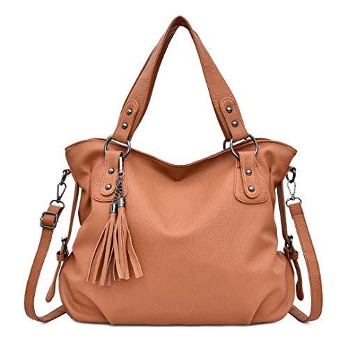 Quaste Frauen Casual Tote Bag Große Kapazität Frauen Handtasche Pu-Leder Crossbody Messenger Bags Frauen Umhängetasche Brown 34X12X31CM -