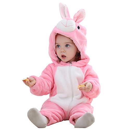 Pagliaccetto con cappuccio cerniera con cerniera flanella tute tute stile animali neonato unisex primavera autunno inverno abiti per bambini ragazzi ragazze (2-5 mesi, coniglio rosa)