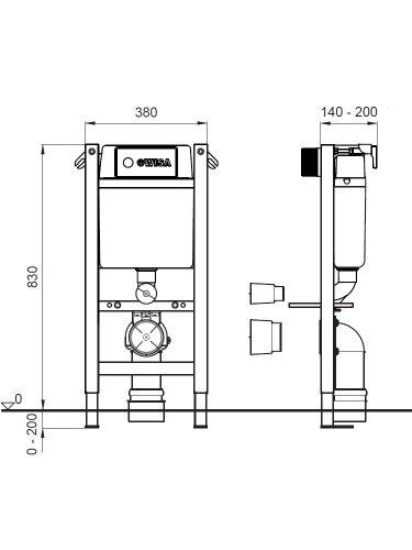 WC-Vorwandelement WISA XT kurze Bauhöhe BH 83 cm + Platte weiß + WC Keramik+ WC-Sitz mit Absenkautomatik