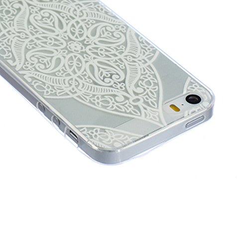 iPhone 5S Case,iPhone 5 Cover - Felfy Apple iPhone 5/5S Ultra Slim Dünnen Weiche Soft Gel romantisch Mond Lichter Liebhaber Muster TPU Silikon Back Bumper Hülle Zurück Tasche Etui Protective + 1x Schw Klar Love Heart