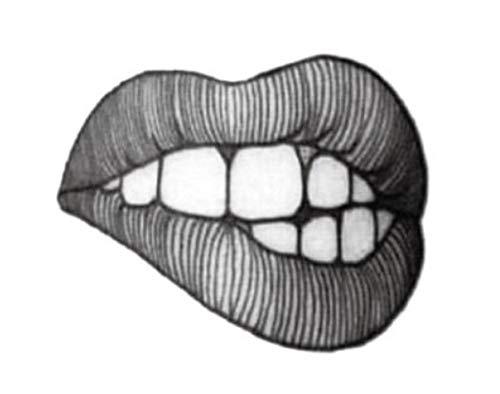 EROSPA® Tattoo-Bogen temporär / Sticker - Mund Lippen Zähne - Wasserfest