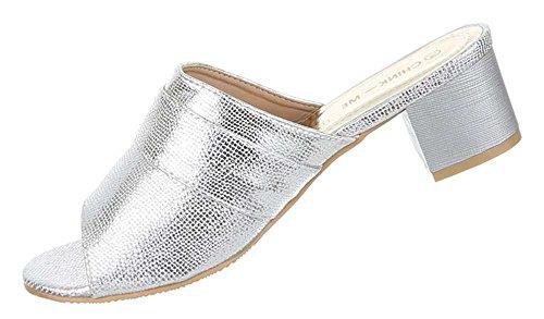 Damen Schuhe Sandalen Mit Strass Besetzte Silber