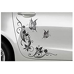 DD Dotzler Design 041215 Auto-Aufkleber Wand-Tattoo Klebe-Folie mit zwei Schmetterlingen Blumen-Ranke ca 62 x 58 cm